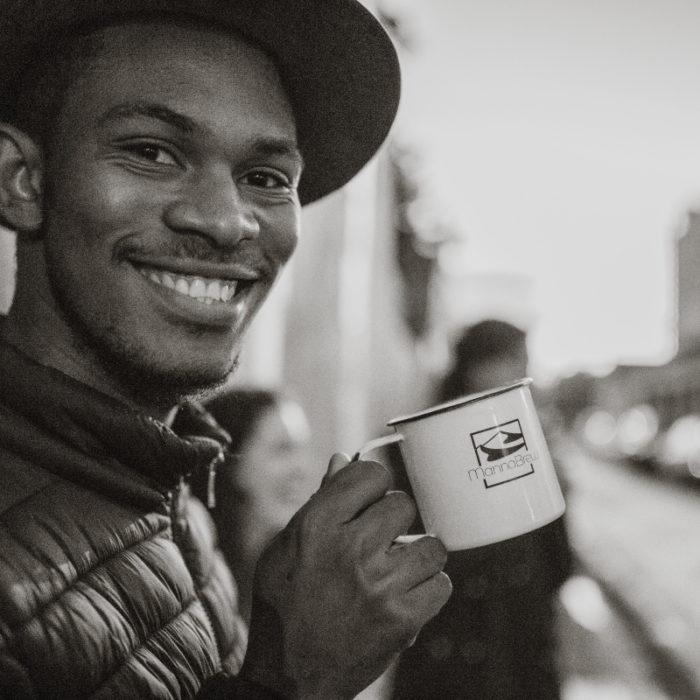 MannaBrew Enamel Mug with Guy
