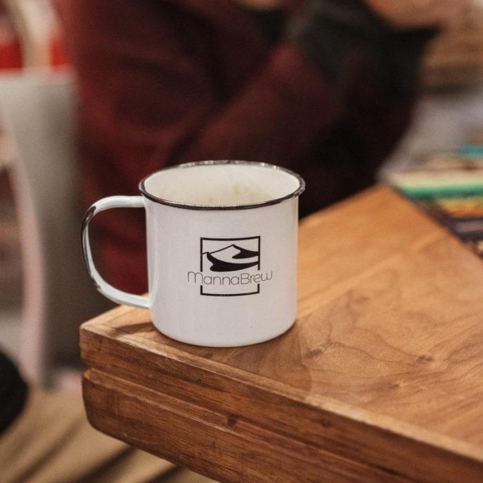 Empty MannaBrew Enamel Mug